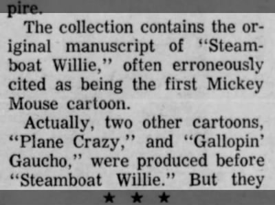 Steamboat Willie not the first Mickey Mouse cartoon