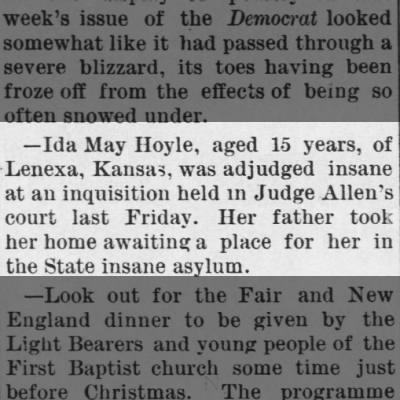 Ida May Hoyle, age 15.  The Olathe Mirror, Olathe, Kansas.  13 Nov 1890, Page 7.