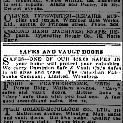 Dominion Safe and Vault ad 1910