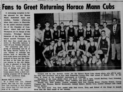 Horace Mann Basketball Championship Games March 10, 1956