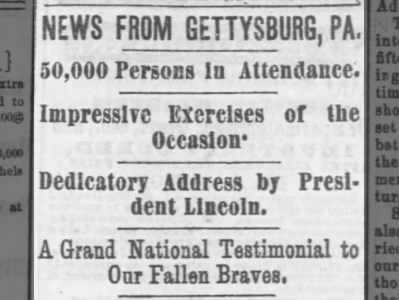Address by President Lincoln given at Gettysburg