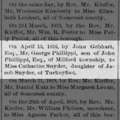 GEORGE PHILLIPPI MARRIES / SON OF JOHN