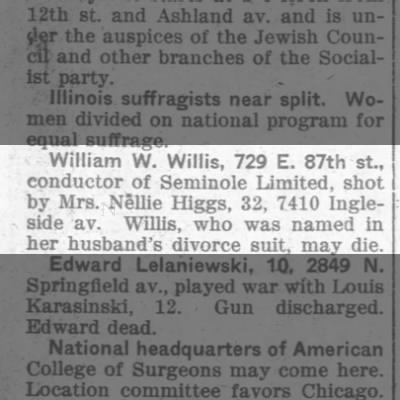 1914-05-01 Higgs Mrs Nellie - shoots William W Willis.