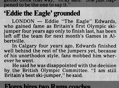 Eddie the Eagle fails to make team for 1992 games