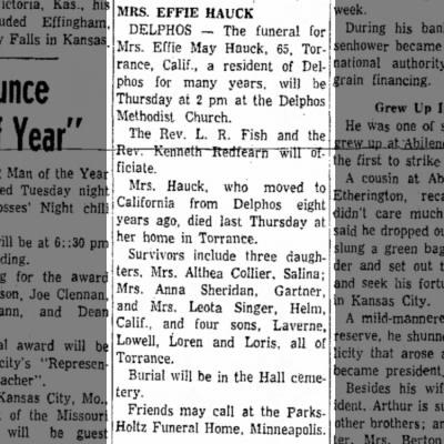 Effie Hauck obitSalina Journal27 Jan 1958