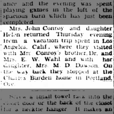 John Conroy Sep 24, 1928 Sterling Daily Gazette