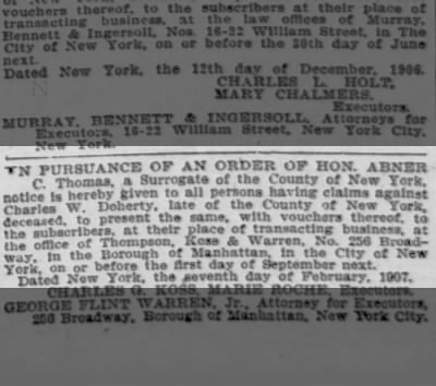 Charles W Doherty heirs notice 1907