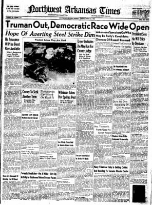 Northwest Arkansas Times from Fayetteville, Arkansas on March 31, 1952 · Page 1