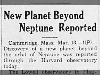 New Planet Beyond Neptune Reported