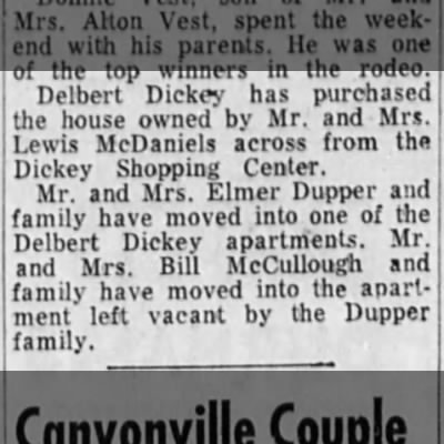 Delbert Dickey house purchased from McDaniels