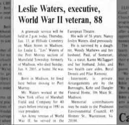 Leslie Waters 2005-01-13 Obituary