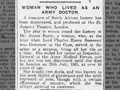 Woman Who Lived As An Army Doctor